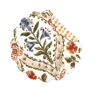 Isabelle Floral Quilted Reversible Round C&F Placemat Blue, Green, Paprika, Gold