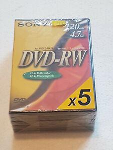 Sony DVD -RW discs X5 boxed. 4.7GB / 120 min sealed