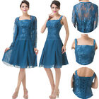 mother of the bride dress Short formal masquerade evening gown& lace Free jacket