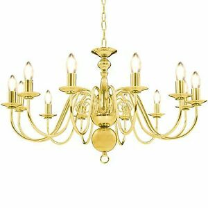 Large Traditional Flemish 12 Way Ceiling Light Chandelier Fitting + LED Bulbs