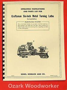 "CRAFTSMAN/ATLAS 6"" Metal Lathe 101.07301 Owner's Manual ~REVISED 0189"