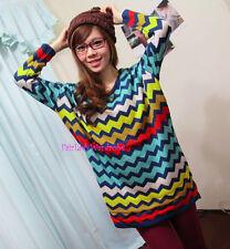 Japan ZigZag Colorblock Boyfriend Tunic Knit Sweater! Blue