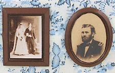 Dollhouse Miniature Framed Victorian Sepia Style Photos Wedding and Military