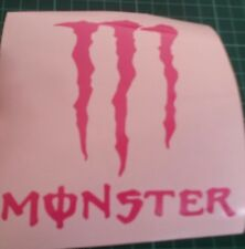 2 MONSTER VINYL STICKER, CAR DECAL WINDSCREEN Bumper sticker pink
