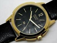 seiko quartz men gold plated black dial nice leather strap japan watch run