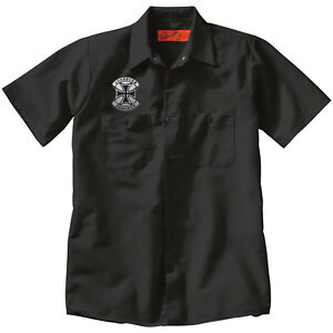 CHOPPERS FOREVER Iron Cross Mechanic Motorcycle Black WORK SHIRT Patch Choppers