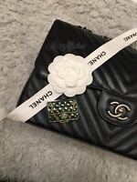 CHANEL Authentic CC Classic Flap Bag Chain Gold & Céladon Brooch NWT