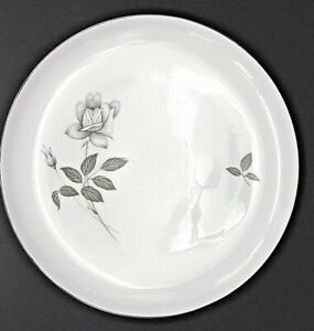 """Set of 2 ~Queen's Royal Fine China Japan~ Gray Rose~10.25"""" Dinner Plates"""