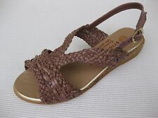 Eric Michael Womens Shoes NEW $115 Toni Taupe Woven Leather Sandal 35 5