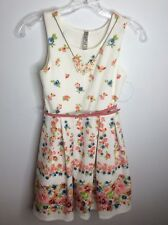 Beautees Girls White Pink Floral Sleeveless Church Holiday Party Dress Size 10