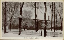 Exterior Street View Snow Winter Junior Hi High School Galion Ohio Postcard B17