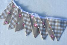Laura Ashley Dark Linen  Gingham  BUNTING and Rosebud fabric 2 mtrs 9 flags