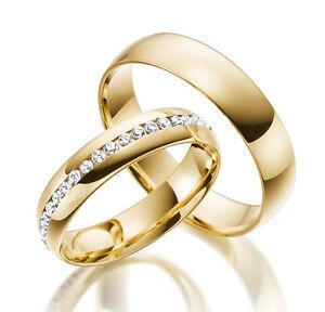 2 x 585 Gelbgold Trauringe Vollkranz  Massiv Gold Eheringe Verlobungsringe Neu