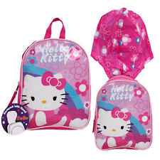 2IN1 HELLO KITTY TODDLER GIRLS PRESCHOOL PINK BACKPACK WITH HOOD by SANRIO NEW