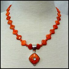 Jay King DTR Sterling Silver Coral Pendant Necklace HSN Poss Retired