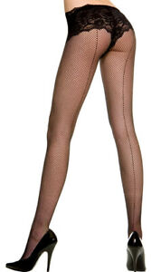 Queen Womens Plus Size Fishnet Pantyhose With Backseam, Plus Size Hosiery