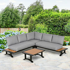 Outsunny 4 Piece Patio Conversation Set Include Loveseat Corner Sofa Table