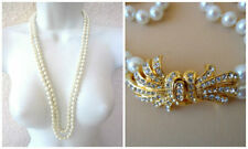 """Vintage 2 Strand Faux Pearl Necklace Art Deco Rhinestone Clasp Hand Knotted 29"""""""