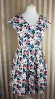 Sugarhill Boutique Floral Retro Stretch Fit and Flare Skater Dress UK 12