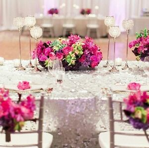 """Silver Sequin linen for weddings! 134"""" Round"""