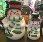 Snowman Cookie Jar Canister Container Christmas w stackable measuring cups NEW