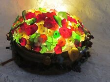 Antique Czech Metal Glass Flower Leaf Molded Glass Desk Top Lamp Czechoslovakia