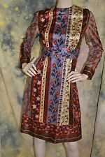 vtg 60s 70s FESTIVAL floral FALL Swiss Belle hippie PRAIRIE dress S
