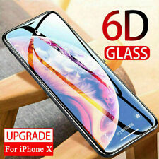 For iPhone X 6D Full Coverage Protective Film Tempered Glass Screen Protector UK