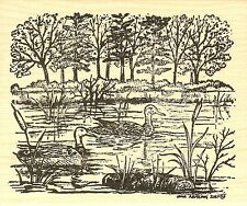 Mallard Duck Pair In Cattails, Wood Mounted Rubber Stamp NORTHWOODS - NEW, P9730