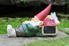 Gnome Garden Ornament 7 Dwarfs Solar Power Butterfly Sleeping Santa Outdoor