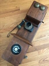 Antique Wooden Wall Crank Telephone retro-fitted for land line dial up