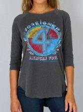 JUNK FOOD Clothing 3/4 Sleeve Crew Foreigner American Tour Raglan Top Grey S $68