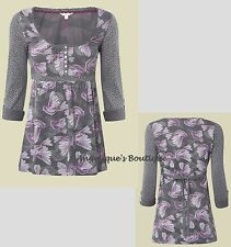 WHITE STUFF GREY & PURPLE DOVE BIRD CONTRAST SPOT JERSEY TUNIC TOP SZ 8 - 12 NEW