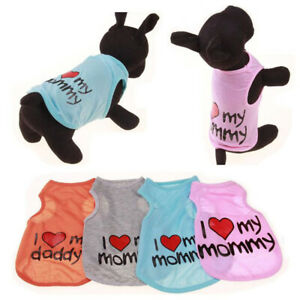New Pet Cat Dog Cartoon Sling Vest Love T Shirt Puppy Small Dog Clothes Apparel