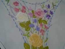 More details for vintage hand embroidered floral linen tablecloth, roses / sweet peas (1a)