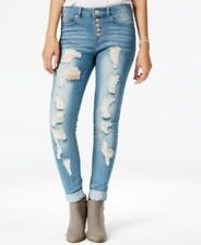 NEW-Indigo Blue Juniors' Button-Front Super-Soft Ripped Skinny Jeans, SIZE 1
