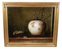 FRUIT VASE STILL LIFE OIL PAINTING JIE WEI ZHOU LISTED CHINESE AMERICAN ARTIST
