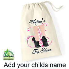 Tap Dance Shoes Draw String Shoe Bag Sack Personalised Name Birthday Gift