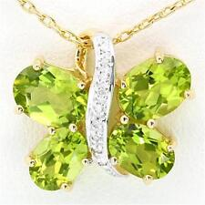 Natural Butterfly 4.62ct Peridot & Diamond 9K 9ct 375 Solid Gold Pendant