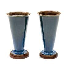 More details for pair denby danesby ware electric blue art deco glaze effect vases c1925