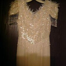 WOW Vintage Handmade Evening Formal GOWN ALL Beads, Pearls,Sequins WEDDING Dress