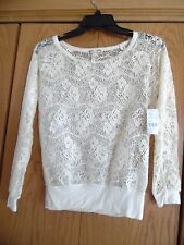 NWT!  Womens Size XS Long Sleeved Kirra Stretch Sheer Lace Shirt Top Ivory CUTE!