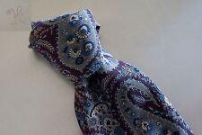 "Guy Laroche 100% Pure Silk Tie Necktie Gray Burgundy & Blue Made in Italy 4"""