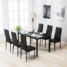 black dining room furniture sets. 7 Piece Dining Table Set 6 Chairs Black Glass Metal Kitchen Room Furniture Sets R
