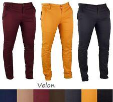 Pantaloni Uomo Slim Fit Tasca America Chino Cotone Elasticizzato Colori Tg VELON