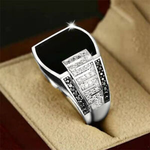 925 Silver Engagement Ring Black Sapphire Men Fashion Wedding Jewelry Size 6-14