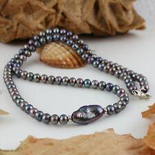 Süßwasser Perlen Kette grau peacock + Barock-Perle – 925 Silber – 44cm 70ct