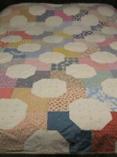 VINTAGE HANDMADE PATCHWORK TWIN QUILT MULTI OLD PRINTS AND COLORS
