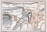 Lourdes 1912 pt. plan ville orig. + guide (4 p.) Grotte Basilique Sacré Coeur