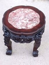 Oriental Asian Antique carved Pedestal Plant stand table w/ marble top